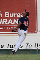 Elizabethton Twins center fielder Byron Buxton #41 tracks a fly ball during a game against the Greenville Astros at Joe O'Brien Field on August 21, 2012 in Elizabethton, Tennessee. The Twins  defeated the Astros 7-5 (Tony Farlow/Four Seam Images).