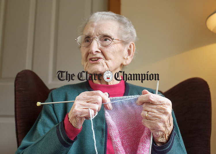 Nora Canavan of St Catherine's, Doolin who celebrates her 107th birthday on March 9th gets on with her knitting. Photograph by John Kelly.