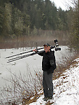 Art Wolfe on location, Sauk River, Washington