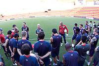 Bob Bradley and the US Men's National Team. Stadium Training prior to FIFA World Cup qualifiers USA vs El Salvador at Estadio Cuscatlán Stadium  on March 27, 2009.