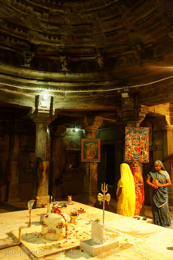 inside Shiva Temple in village below Fort Amber near Jaipur, Rajastan, India.