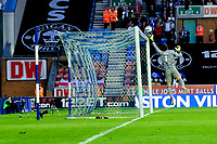 Tuesday, 7 May 2013<br /> <br /> Pictured: Wigan Goal keeper tips a shot over the bar<br /> <br /> Re: Barclays Premier League Wigan Athletic v Swansea City FC  at the DW Stadium, Wigan