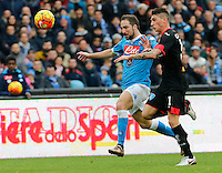 Napoli's Gonzalo Higuain  during the  italian serie a soccer match,between SSC Napoli and Empoli      at  the San  Paolo   stadium in Naples  Italy , January 31, 2016