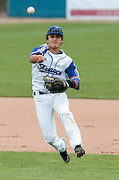 26 july 2010: Maxime Lefevre of France throws the ball to first base during France 10-2 victory over Ukraine, in day 4 of the 2010 European Championship Seniors, in Neuenburg, Germany.