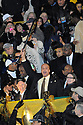 "NEW ORLEANS - FEBRUARY 07:  New Orleans Mayor Ray Nagin holds up the ""bring the wood"" bat as Saints players treat fans to a Super Bowl Saints Victory parade on St. Charles Avenue in New Orleans, Tuesday, Feb. 9, 2010.  (Photo by Cheryl Gerber/Getty Images)"