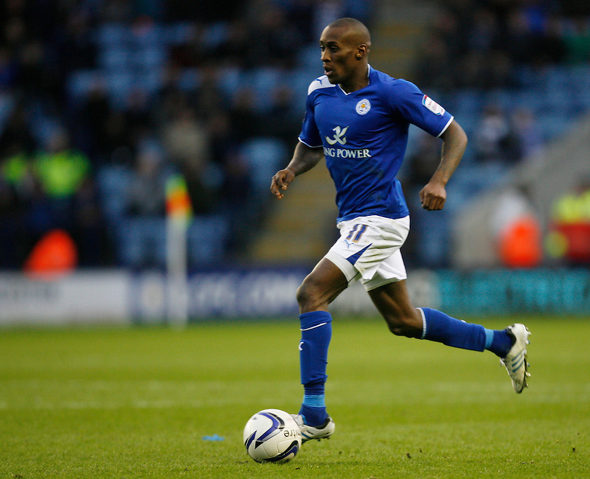 Leicester City's Lloyd Dyer in action   ..Football - npower Football League Championship - Leicester City v Barnsley - Saturday 8th December 2012 - King Power Stadium - Leicester..
