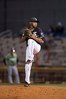 Salem-Keizer Volcanoes relief pitcher Luis Moreno (12) delivers a pitch during a Northwest League game against the Eugene Emeralds at Volcanoes Stadium on August 31, 2018 in Keizer, Oregon. The Eugene Emeralds defeated the Salem-Keizer Volcanoes by a score of 7-3. (Zachary Lucy/Four Seam Images)