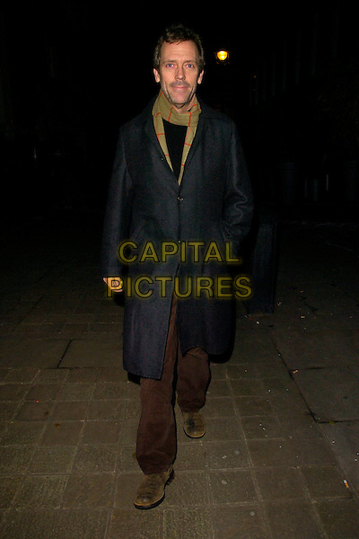 HUGH LAURIE.Spotted walking through St. Martin's Lane, London, England..December 12th, 2007.full length black grey gray coat hand in pocket green scarf.CAP/CAN.©Can Nguyen/Capital Pictures