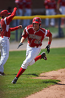 Batavia Muckdogs designated hitter Blake Anderson (26) running the bases during a game against the State College Spikes August 23, 2015 at Dwyer Stadium in Batavia, New York.  State College defeated Batavia 8-2.  (Mike Janes/Four Seam Images)