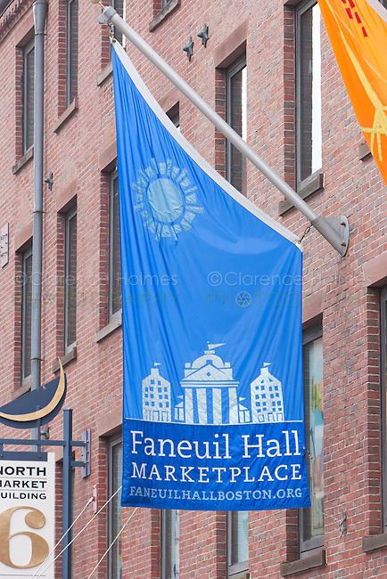 Flag outside of Faneuil Hall Marketplace in Boston, Massachusetts