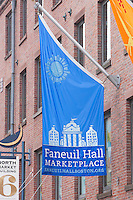 Flag outside of Faneuil Hall Marketplace in Boston, Massachusetts