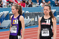 Two of the best high school runners in the country, Hannah Long (left) and Stephanie Jenks just before the start of the girls 1600-meters at the 2015 Kansas Relays.