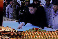 "North Korea's new commander in chief, Kim Jong Un is displayed on a giant screen during a concert on the eve of the 80th anniversary of the founding of the North Korean army in Pyongyang, North Korea, Tuesday, April 24, 2012. ""Inside DPRK"""