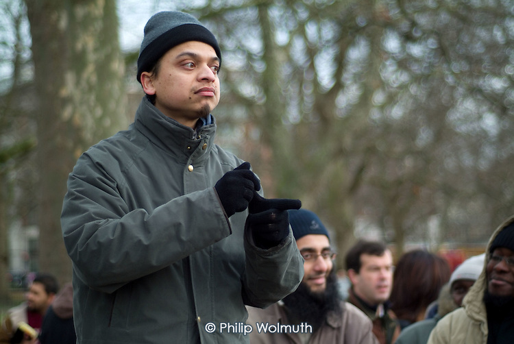 An Islamic preacher at Speakers' Corner in Hyde Park, London.