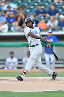 Pensacola Blue Wahoos center fielder Gabriel Guerrero (23) swings at a pitch during a game against the Tennessee Smokies at Smokies Stadium on August 5, 2017 in Kodak, Tennessee. The Smokies defeated the Blue Wahoos 6-2. (Tony Farlow/Four Seam Images)