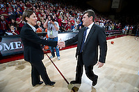 STANFORD CA-DECEMBER 30, 2010: Tara Vandaver and Geno Auriemma shake hands before the start of the Stanford 71-59 victory over UCONN at Maples Pavilion.