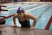 NWA Democrat-Gazette/CHARLIE KAIJO Fayetteville's Audrey McKinnon emerges from the pool after placing first in the girls 100 yard breaststroke during a swim meet, Saturday, February 9, 2019 at the University of Arkansas HYPER pool in Fayetteville.