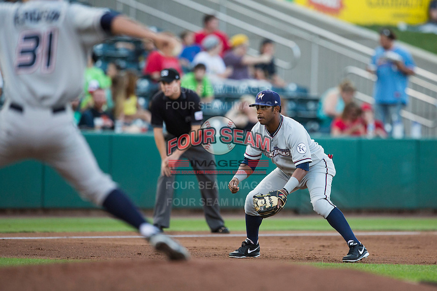 Cheslor Cuthbert (13) of the Northwest Arkansas Naturals stands on defense during a game against the Springfield Cardinals at Hammons Field on August 20, 2013 in Springfield, Missouri. (David Welker/Four Seam Images)