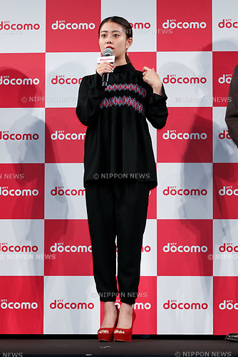 Actress Mitsuki Takahata speaks during the launch event for 8 new mobile devices for the summer lineup of NTT DOCOMO on May 24, 2017, Tokyo, Japan. DOCOMO introduced seven new smartphones and one tablet along with a new app and service plans. (Photo by Rodrigo Reyes Marin/AFLO)