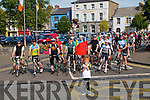 When Timmy Met Sam: Timmy Kennelly, grandson of Tim Kennelly waving the red flag at the start of the When Timmy Met Sam 56K Leisure Cycle hosted by Feale Rangers GAA in association with Listowel Cycling Club on Saturday last.
