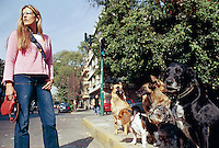 A dog walker in the condesa neighbourhood og Mexico City. 3-10-04