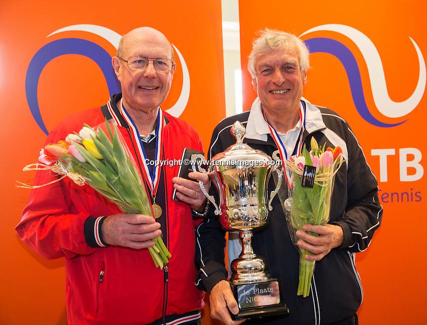 Hilversum, The Netherlands, March 12, 2016,  Tulip Tennis Center, NOVK, Winners mens doubles 75+ years: Peter Blaas and Hans Bronkhorst<br /> Photo: Tennisimages/Henk Koster
