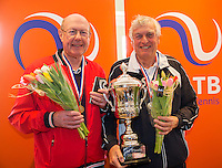 Hilversum, The Netherlands, March 12, 2016,  Tulip Tennis Center, NOVK, Winners mens doubles 75+ years: Peter Blaas and Hans Bronkhorst<br /> Photo: Tennisimages/Henk Koster