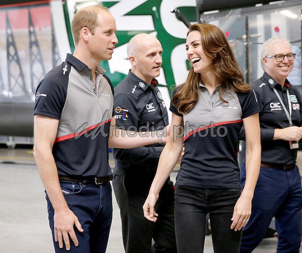 24 July 2016 - Princess Kate Duchess of Cambridge and Prince William Duke of Cambridge at the America's Cup World Series Race in Portsmouth. The royal couple visited the home of the British competitors for the America's Cup before observing the ongoing competition. Photo Credit: ALPR/AdMedia