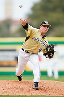 Relief pitcher Nate Jones #42 of the Wake Forest Demon Deacons in action against the LSU Tigers at Alex Box Stadium on February 20, 2011 in Baton Rouge, Louisiana.  The Tigers defeated the Demon Deacons 9-1.  Photo by Brian Westerholt / Four Seam Images