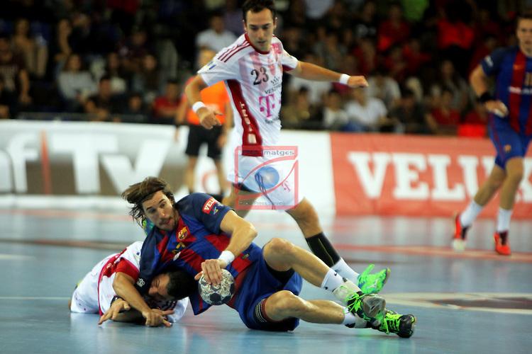 VELUX EHF <br /> 2016/17 EHF Men's Champions League Group Phase - Round 5.<br /> FC Barcelona Lassa vs Telekom Veszprem: 26-23.<br /> Jose Maria Rodriguez vs Viran Morros.