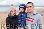Amanda Shanahan with Darragh and Eric Hanafin from Tralee enjoying their stroll on Fenit beach on Sunday.