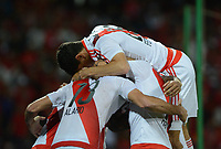 MEDELLÍN -COLOMBIA-15-03-2017. Los jugadores de River celebran el segundo gol anotado al Medellin, durante partido de la fase de grupos, grupo 3, fecha 1 entre Deportivo Independiente Medellin de Colombia y River Plate de Argentina por la Copa Conmebol Libertadores Bridgestone 2017 en el Estadio Atanasio Girardot, de la ciudad de Medellin. / The players of River celebrate the second goal scored to Medellin, during a match for the group stage, group 3 of the date 1, between Deportivo Independiente Medellin of Colombia and River Plate of Argentina for the Conmebol Libertadores Bridgestone Cup 2017, at the Atanasio Girardot, Stadium, in Medellin city. Photo: VizzorImage/ Leon Monsalve /Cont
