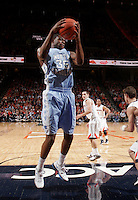 North Carolina Tar Heels guard Reggie Bullock (35) grabs a rebound during the game against Virginia in Charlottesville, Va. North Carolina defeated Virginia 54-51.