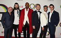 WEST HOLLYWOOD, CA - FEBRUARY 07: (L-R) David Collins, Jonathan Van Ness, Karamo Brown, Bobby Berk, Tan France and Antoni Porowski attend the premiere of Netflix's 'Queer Eye' Season 1 at Pacific Design Center on February 7, 2018 in West Hollywood, California.<br /> CAP/ROT/TM<br /> &copy;TM/ROT/Capital Pictures