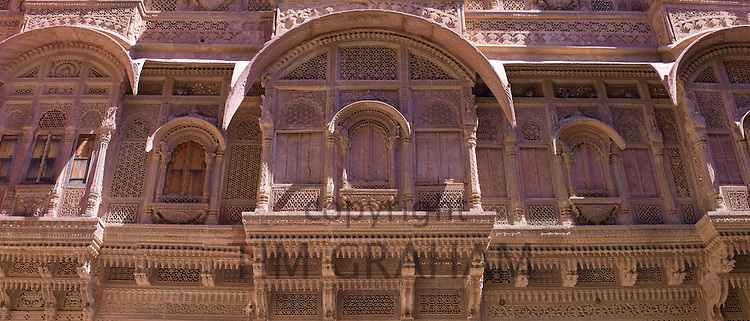 Mehrangarh Fort 18th Century section harem women's viewing area at Jodhpur in Rajasthan, Northern India