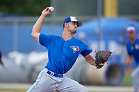Toronto Blue Jays relief pitcher Andrew Deramo (62) delivers a pitch during a Florida Instructional League game against the Pittsburgh Pirates on September 20, 2018 at the Englebert Complex in Dunedin, Florida.  (Mike Janes/Four Seam Images)