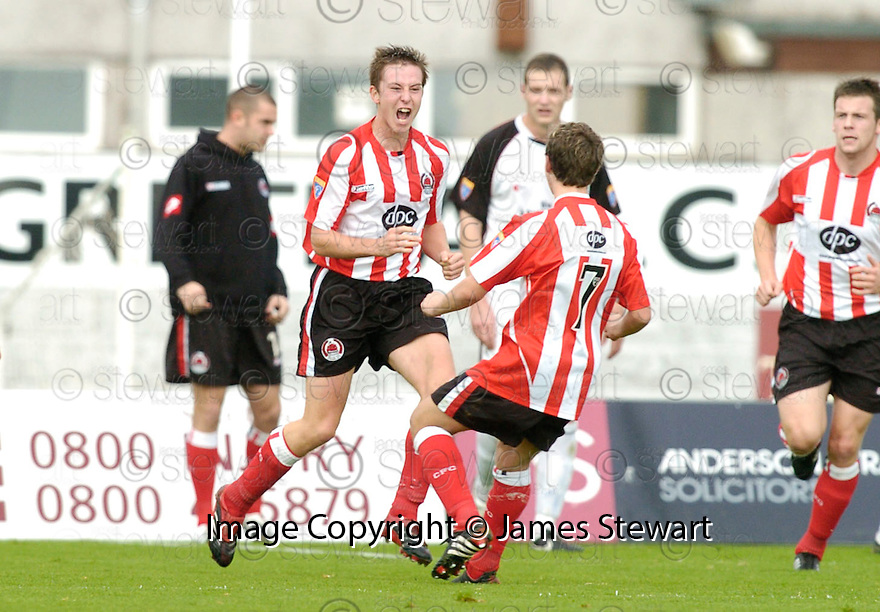 21/10/2006       Copyright Pic: James Stewart.File Name :sct_jspa06_gretna_v_clyde.CHRIS HIGGINS CELEBRATES AFTER HE SCORES CLYDE'S FIRST...Payments to :.James Stewart Photo Agency 19 Carronlea Drive, Falkirk. FK2 8DN      Vat Reg No. 607 6932 25.Office     : +44 (0)1324 570906     .Mobile   : +44 (0)7721 416997.Fax         : +44 (0)1324 570906.E-mail  :  jim@jspa.co.uk.If you require further information then contact Jim Stewart on any of the numbers above.........