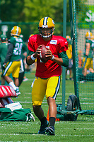 Green Bay Packers quarterback Brett Hundley (7) during a training camp practice on August 15, 2017 at Ray Nitschke Field in Green Bay, Wisconsin.   (Brad Krause/Krause Sports Photography)