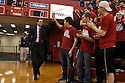 December 3, 2012: Tim Miles head coach of the Nebraska Cornhuskers giving five to a Nebraska student before the game against the USC Trojans at the Devaney Sports Center in Lincoln, Nebraska. Nebraska defeated USC 63 to 51.