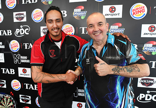 """10th August 2017, Auckland, New Zealand; Auckland Darts Masters Press Conference and Draw;  New Zealand's Darren Herewini aka Apocalypse and Phil """" the power"""" Taylor match up in the first round"""