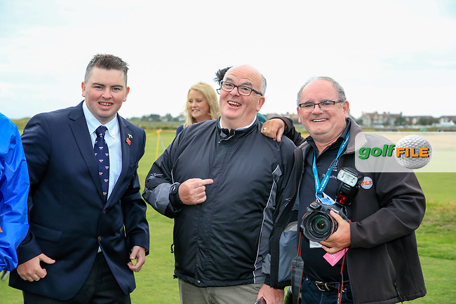 Caolan Rafferty  (GB&I) with some odd looking individuals during the opening ceremony at the Walker Cup, Royal Liverpool Golf CLub, Hoylake, Cheshire, England. 06/09/2019.<br /> Picture Fran Caffrey / Golffile.ie<br /> <br /> All photo usage must carry mandatory copyright credit (© Golffile   Fran Caffrey)