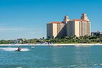 Naples Beach Water Sports Jet Ski on Gulf of Mexico at Ritz-Carlton Beach Resort, Vanderbilt Beach, Naples, Florida, USA. Oct. 18, 2014