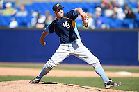 Myrtle Beach Pelicans pitcher Jason Knapp (33) delivers a pitch during a game against the Wilmington Blue Rocks on April 27, 2014 at Frawley Stadium in Wilmington, Delaware.  Myrtle Beach defeated Wilmington 5-2.  (Mike Janes/Four Seam Images)