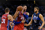 Ben Simmons of 76ers (C) in action during the NBA China Games 2018 match between Dallas Mavericks and Philadelphia 76ers at Universiade Center on October 08 2018 in Shenzhen, China. Photo by Marcio Rodrigo Machado / Power Sport Images