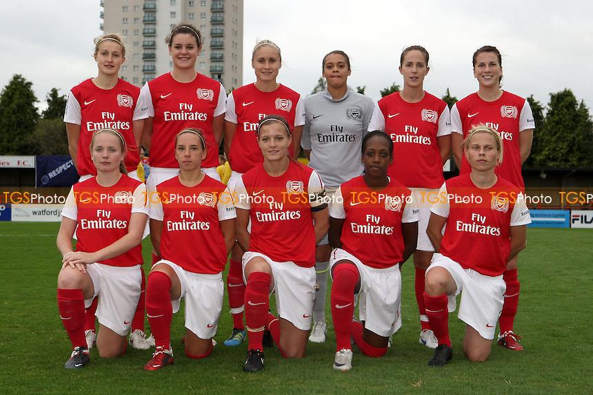 Arsenal players pose for a team photograph - Arsenal Ladies vs FC Bobruichanka - UEFA Women's Champions League Round of 32 Second Leg at Boreham Wood FC - 05/10/11 - MANDATORY CREDIT: Gavin Ellis/TGSPHOTO - Self billing applies where appropriate - 0845 094 6026 - contact@tgsphoto.co.uk - NO UNPAID USE.