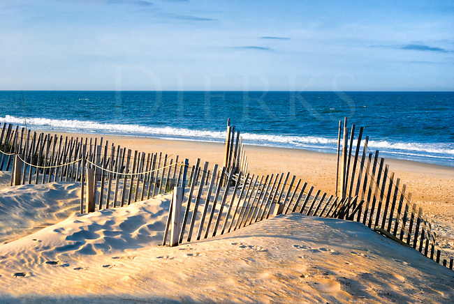 This beach and sand dunes view is just outside Nags Head, North Carolina, a good place for miles of very beautiful Atlantic Ocean beaches in the Outer Banks. They take great civic pride in keeping them that way, too, notice the erosion control fences.<br />