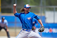 Toronto Blue Jays pitcher Bobby Eveld (54) during a Minor League Spring Training game against the New York Yankees on March 18, 2018 at Englebert Complex in Dunedin, Florida.  (Mike Janes/Four Seam Images)