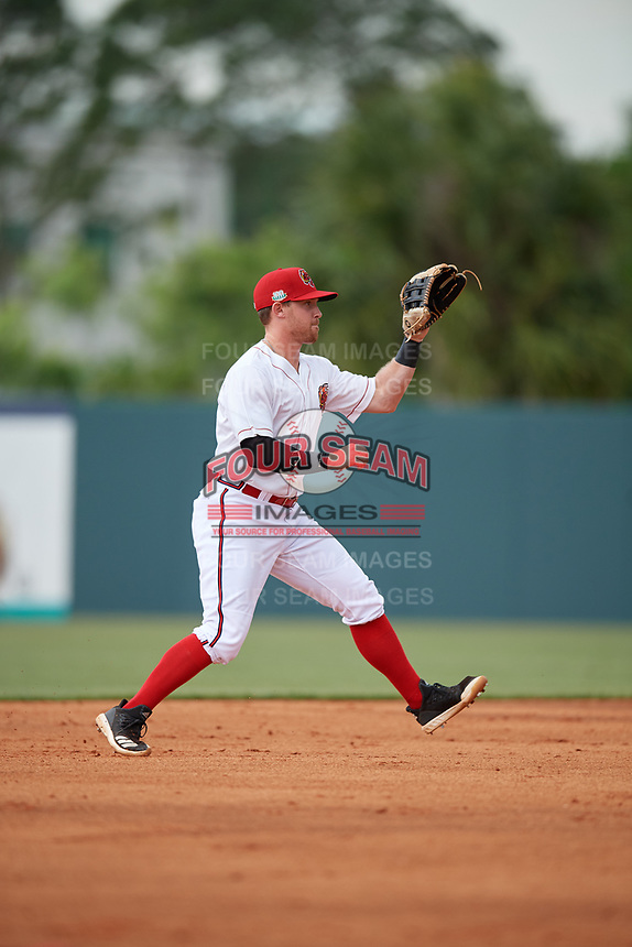 Florida Fire Frogs shortstop Riley Unroe (7) fields a ball during a Florida State League game against the Jupiter Hammerheads on April 8, 2019 at Osceola County Stadium in Kissimmee, Florida.  Florida defeated Jupiter 7-6 in ten innings.  (Mike Janes/Four Seam Images)