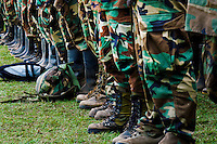 Colombian paramilitary forces (AUC) during the rehearsal for the demobilization ceremony in a jungle settlement Casibare, in the Meta Department, Colombia, 9 April 2006.