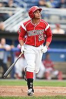 Batavia Muckdogs first baseman Carlos Duran (25) at bat during a game against the Auburn Doubledays on June 16, 2014 at Dwyer Stadium in Batavia, New York.  Batavia defeated Auburn 4-3.  (Mike Janes/Four Seam Images)
